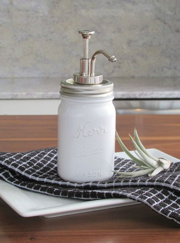 "<a href=""http://francoisetmoi.com/diy/milk-glass-soap-dispenser-diy/"">Transform a mason jar into a cute farmhouse-inspired so"