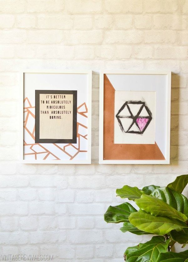 "<a href=""http://www.vintagerevivals.com/2014/05/copper-geometric-picture-mats-hexagon-art.html"">Make your own art with this q"