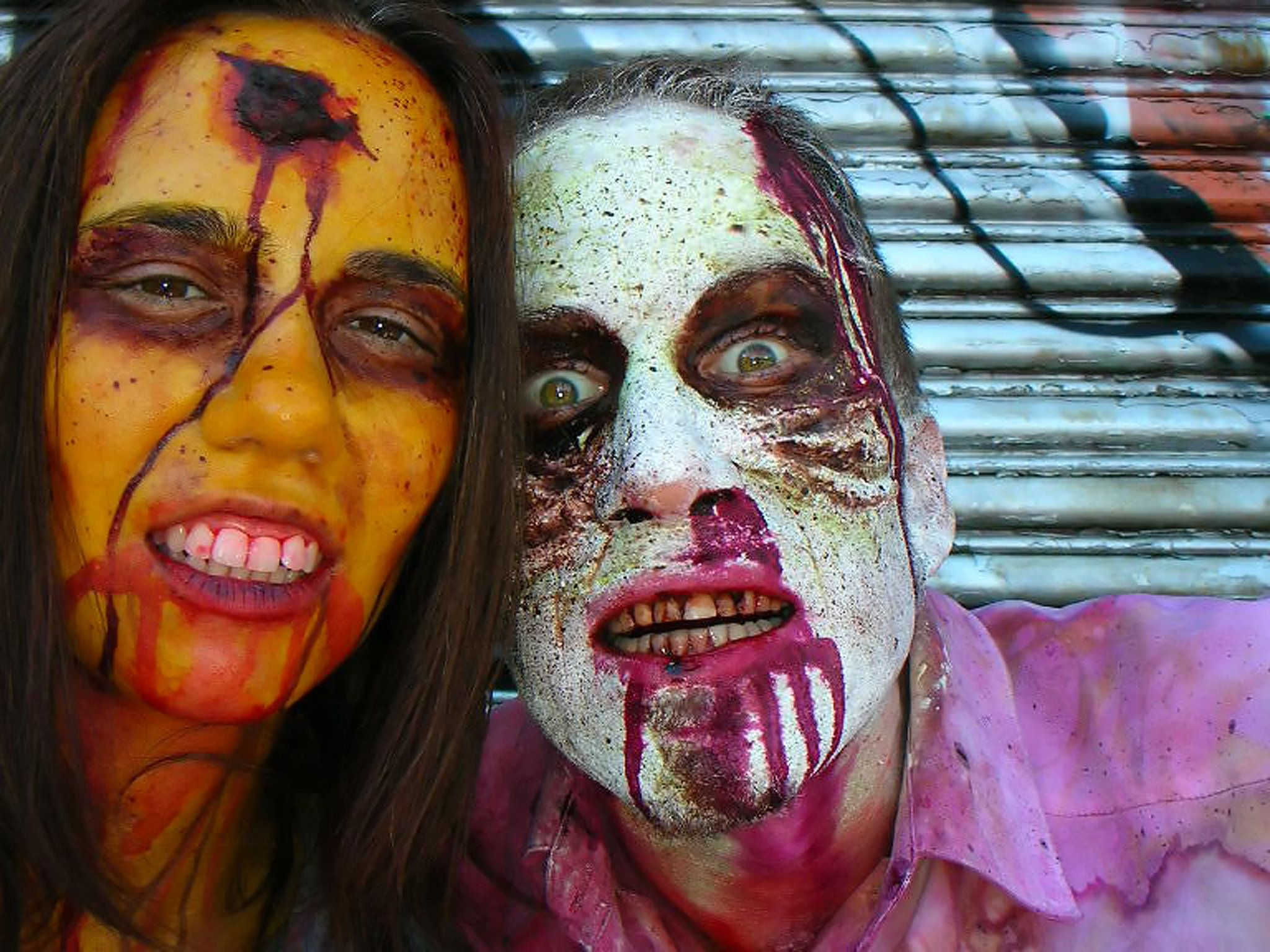 Couple dressed like zombies