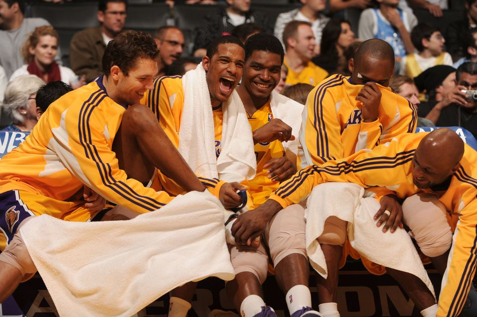 LOS ANGELES - JANUARY 22:  (L-R) Luke Walton #4, Trevor Ariza #3, Andrew Bynum #17, Kobe Bryant #24, and Lamar Odom #7 of the