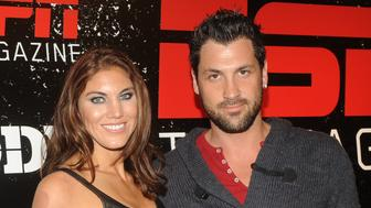 COMMERCIAL IMAGE In this photograph taken by AP Images for ESPN The Magazine,Maksim Chmerkovskiy and Hope Solo arrive at ESPN The Magazine Body Issue Party, Thursday, Oct. 6, 2011 in New York. (Diane Bondareff/AP Images for ESPN The Magazine)