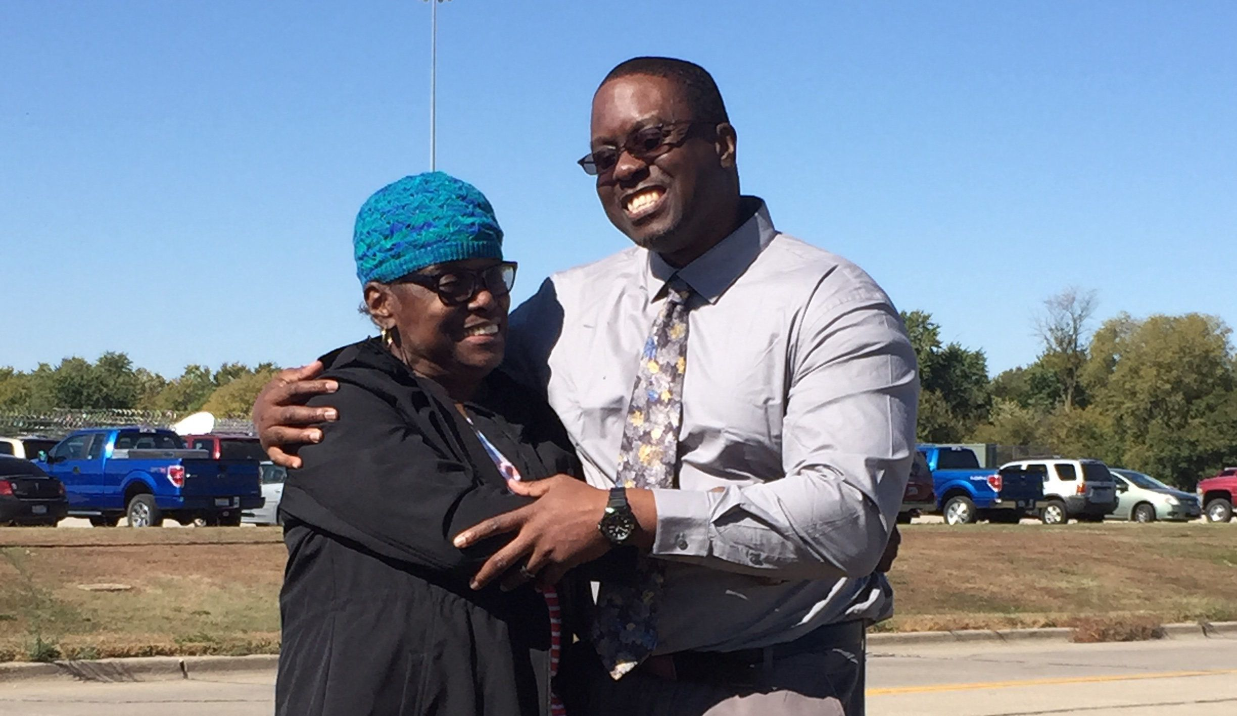 Shawn Whirl, right, hugs his mother after walking out of Hill Correctional Center in Galesburg, Illinois shortly after noon on Wednesday. Whirl had spent nearly 25 years wrongfully imprisoned as the result of a false confession coerced by police torture.
