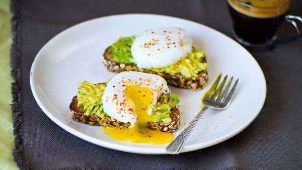Topping creamy, crunchy avocado toast with a poached egg not only adds protein, but also rich flavor. The protein (and the fe