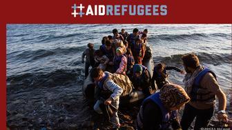 #AidRefugees banner from AidRefugees.gov