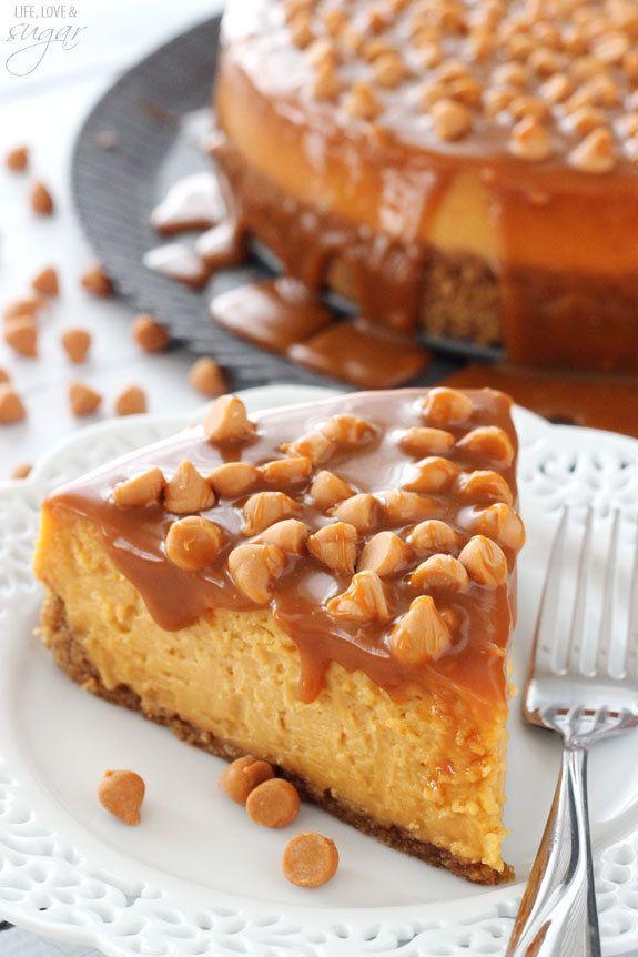 "<strong>Get the <a href=""http://www.lifeloveandsugar.com/2015/04/15/loaded-butterscotch-cheesecake/"" target=""_blank"">Loaded B"