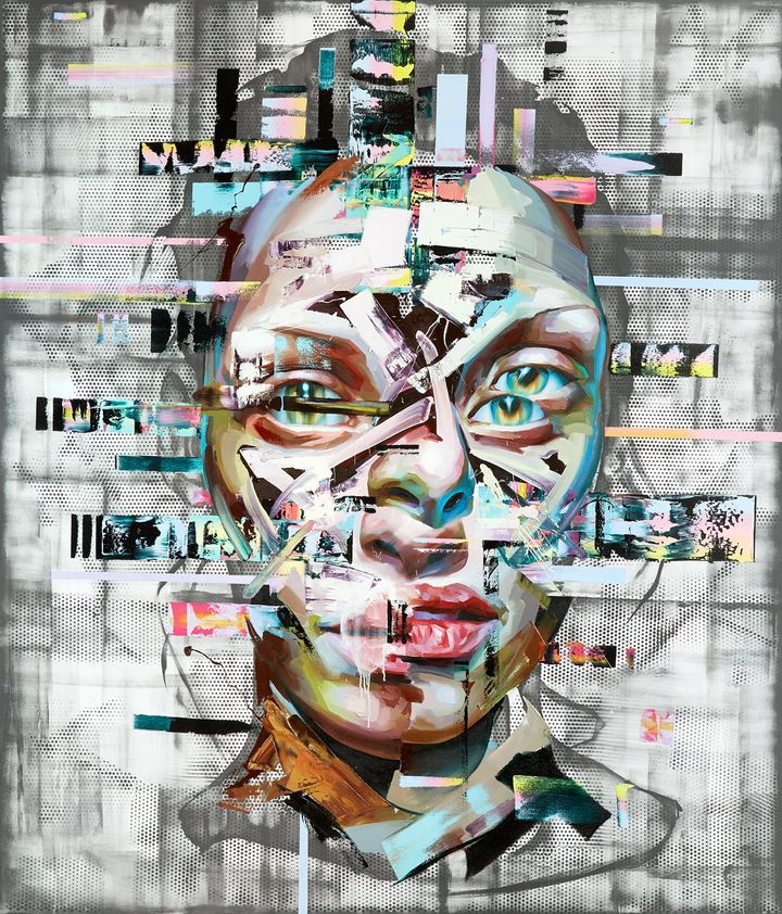 It's possible to see old and new imagery in the anonymous faces, from Dali's surrealism to glitch art.