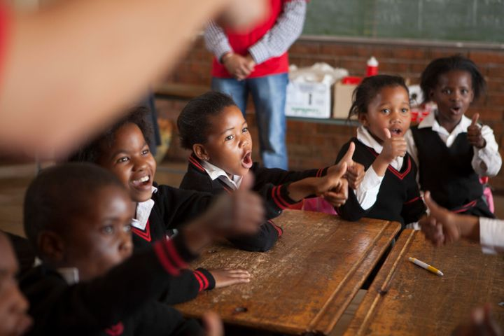 JOHANNESBURG, SOUTH AFRICA - OCTOBER 15: Children learn to wash their hands with Lifebuoy soap, at Margeret Gwele Primary Sch