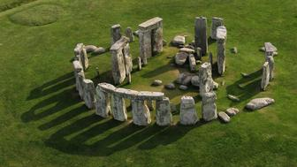 Aerial photo of Stonehenge on a sunny day.
