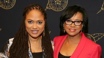 BEVERLY HILLS, CA - FEBRUARY 20:  Director Ava DuVernay (L) and President Academy of Motion Picture Arts and Sciences Cheryl Boone Isaacs pose backstage at the 52nd Annual ICG Publicists Awards at The Beverly Hilton Hotel on February 20, 2015 in Beverly Hills, California.  (Photo by Mathew Imaging/WireImage)