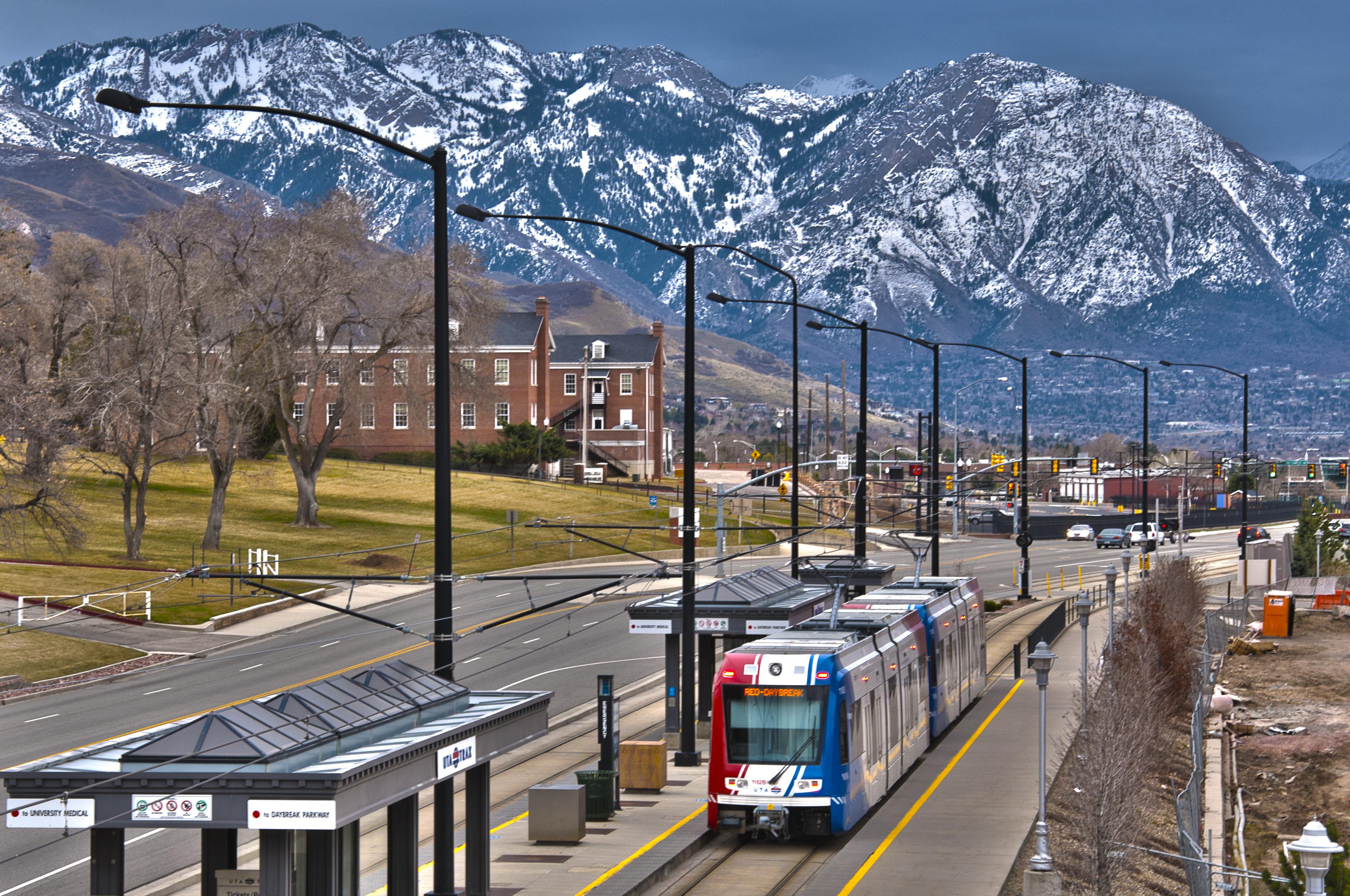 A TRAX train on Salt Lake City's extensive transit system.