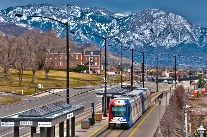 A TRAX train on Salt Lake City's extensive transit system.