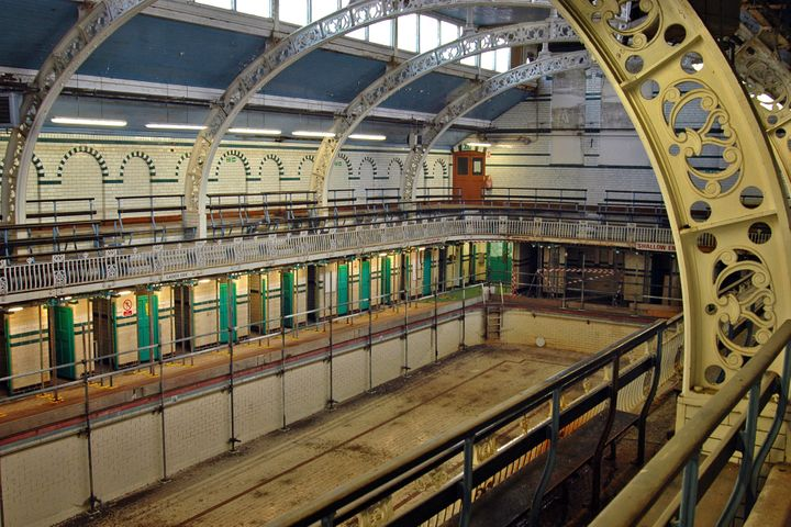 The Moseley Road Baths in the United Kingdom are Edwardian public baths still in use today, but government spending cuts may