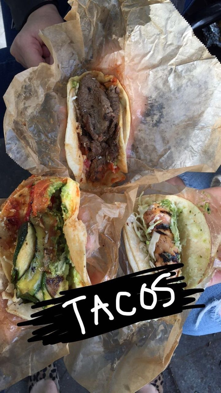 These babies arrived in our arms piping hot. From left: a veggie taco, steak taco and a grilled fishtaco.
