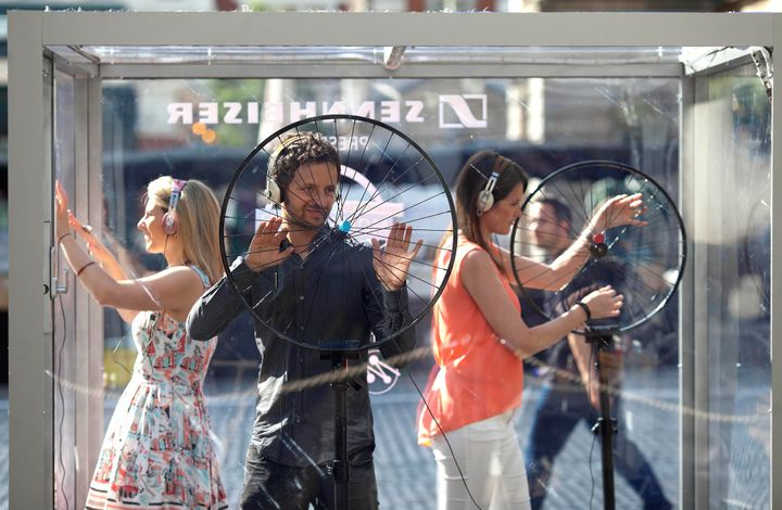 "Mogees creator Bruno Zamborlin ""plays"" a bicycle wheel in London to demonstrate how the music-making device works."