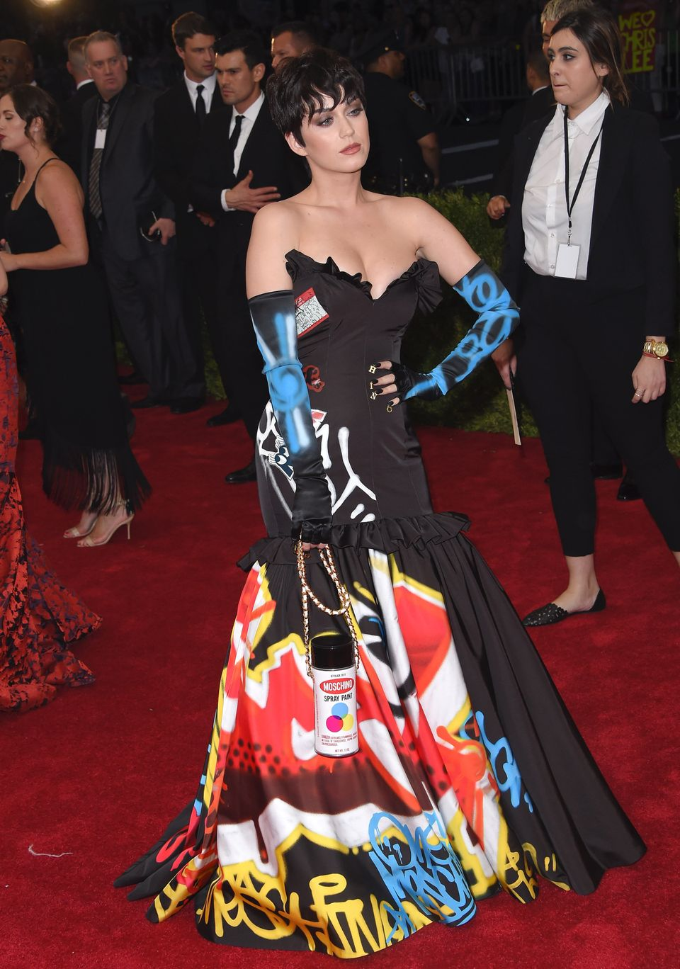 You don't have to go as extravagant as Katy did with a ball gown, but all you need to do to be a walking piece of graffiti is