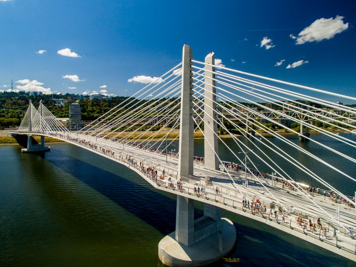 No cars are allowed on Tilikum Crossing, a bridge that opened in Portland, Oregon last month to pedestrians, bikers and public transit.
