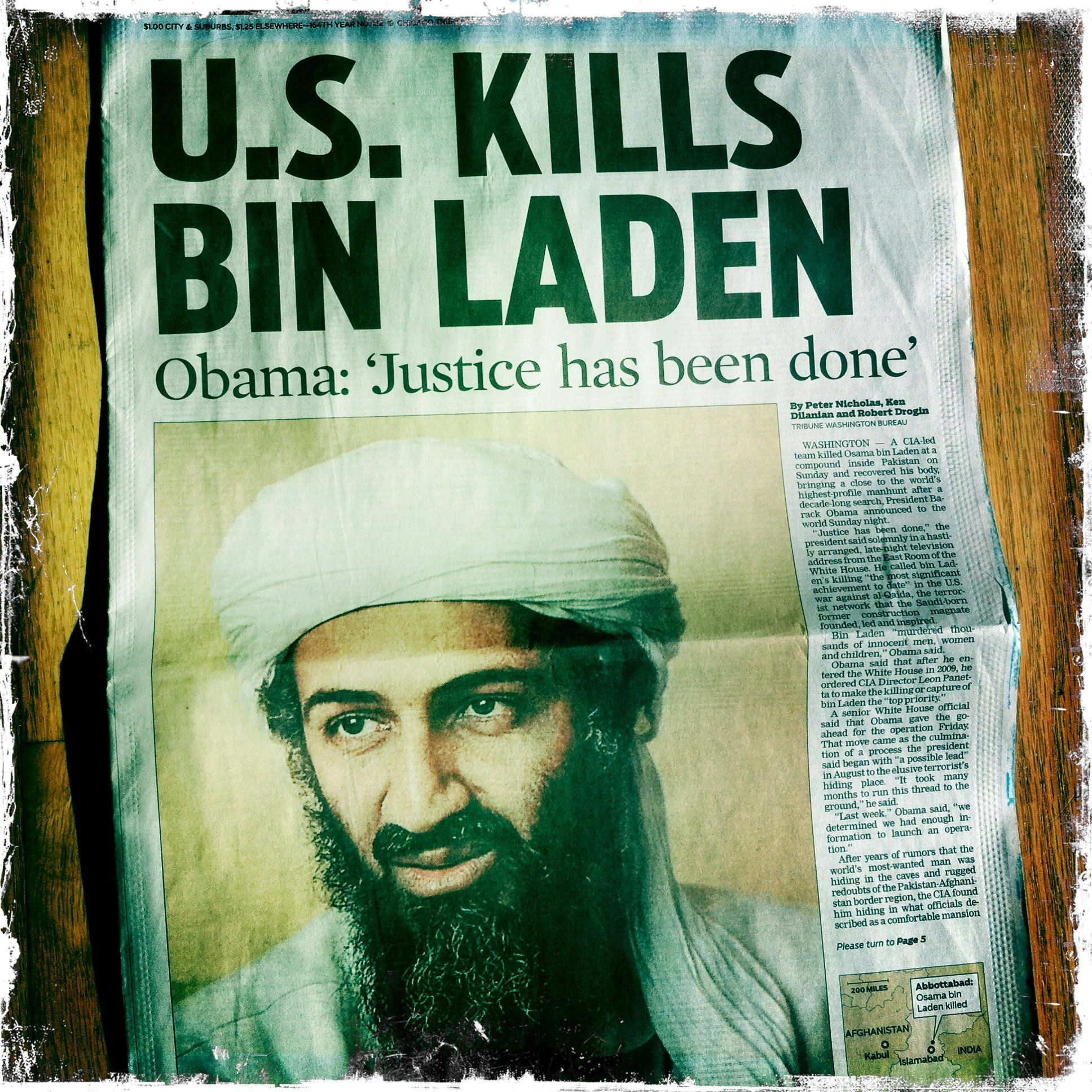 Front page of the Chicago Tribune the day after Osama bin Laden was killed