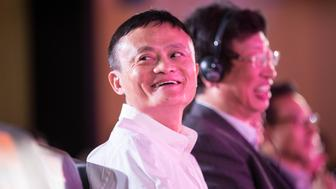 HANGZHOU, CHINA - OCTOBER 13:  (CHINA OUT) Jack Ma, chairman of Alibaba Group Holding Ltd., attends the launching ceremony of the Alibaba's Tmall 11.11 Global Shopping Festival at the company's headquarters on October 13, 2015 in Hangzhou, Zhejiang Province of China. Alibaba will open offices in three European countries and expand further in the U.S as it seeks to revive growth and reassure jittery investors. The 11.11 Global Shopping event this year will cover more than 200 countries throughout the world in large-scale businesses.  (Photo by ChinaFotoPress/ChinaFotoPress via Getty Images)