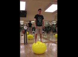 Watch 5 Full Hours Of A Guy Standing On An Exercise Ball For Charity