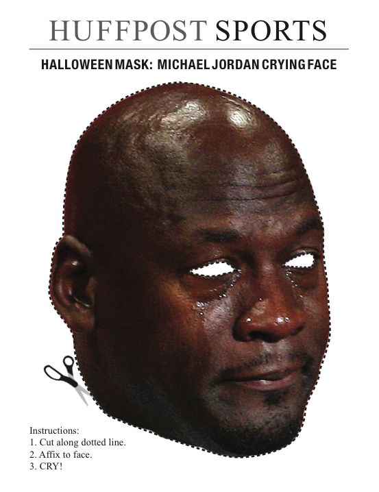 photo relating to Donald Trump Mask Printable known as Heres A Cutout Michael Jordan Crying Experience Halloween Mask