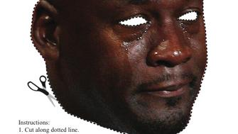 The Michael Jordan Crying Face mask is sure to freak out your friends this Halloween