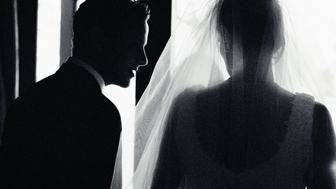 Black and white view from behind of a bride and groom talking. Creative image #:  57449782 License type:  Royalty-free Photographer:  George Doyle Collection:  Stockbyte Credit:  George Doyle Release information: This image has a signed model and property release. This image is available for commercial use. Keywords:  Love, Happiness, Romance, Enjoyment, Harmony, Life Events, Horizontal, Indoors, Black And White, Side View, Rear View, Head And Shoulders, Affectionate, Caucasian Ethnicity, Standing, Wedding, Day, Beauty, Adult, Mid Adult, 30-39 Years, Veil, Celebration, Two People, Males, Men, Mid Adult Men, Women, Mid Adult Women, Photography, Adults Only