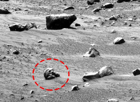 """Spooky! This skull-like object was spotted in an image taken by the rover Spirit in 2006. Similar """"skulls"""" have been spotted"""