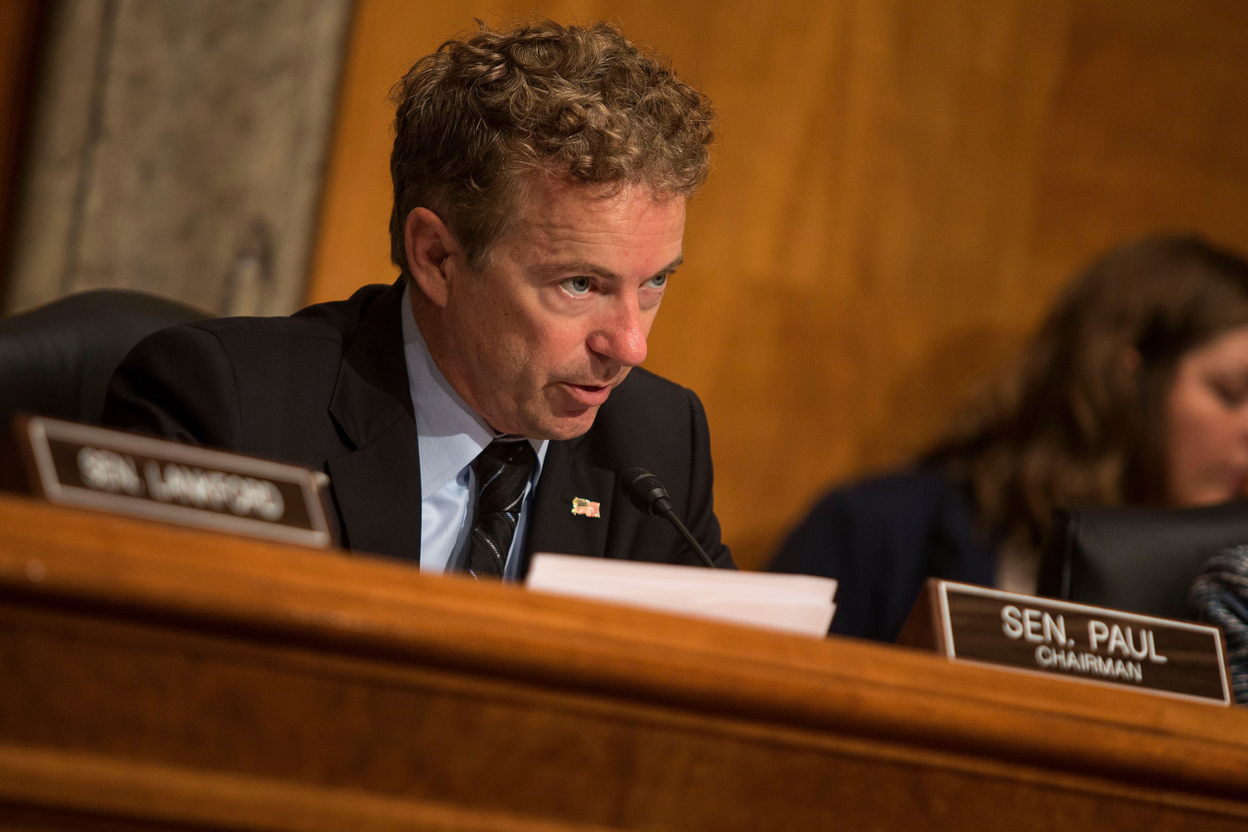 UNITED STATES - September 30: Chairman Rand Paul. R-Ky., speaks during the Homeland Security and Governmental Affairs: Subcommittee on Federal Spending Oversight and Emergency Management hearing to examine end of the year spending, in the Dirksen Senate Office Building in Washington, on Wednesday, Sept. 30, 2015. (Photo By Al Drago/CQ Roll Call)