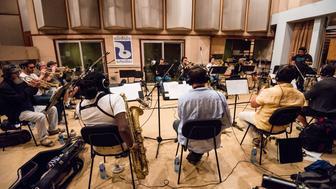 The Afro Latin Jazz Orchestra recording at Abdala Studio in Havana, 2014.