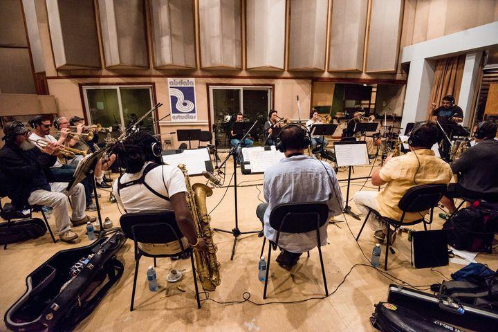 The Afro-Latin Jazz Orchestra recording at Abdala Studios in Havana in 2014.