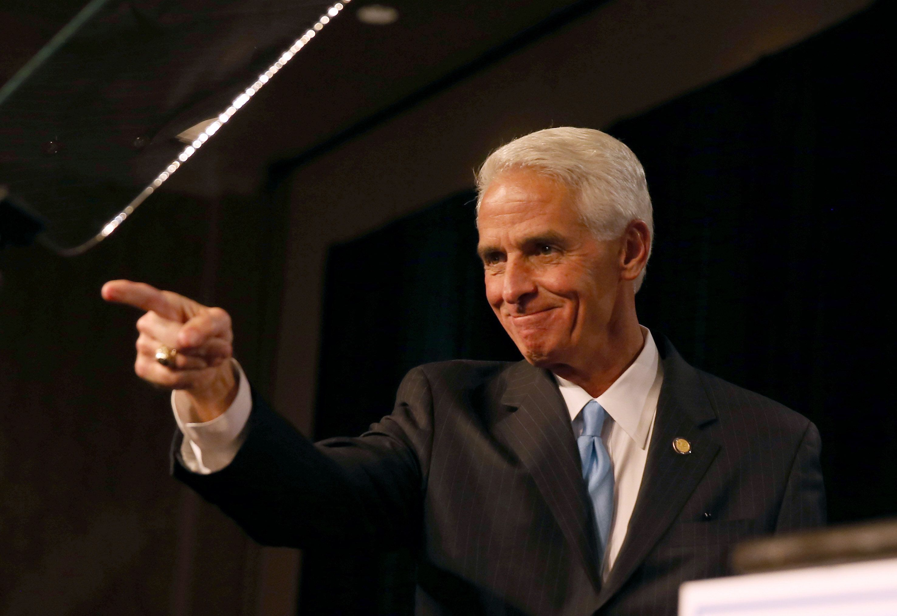 SAINT PETERSBURG, FL - NOVEMBER 04:  Former Florida Governor and now Democratic gubernatorial candidate Charlie Crist as he concedes defeat in the Vinoy hotel on November 4, 2014 in St. Petersburg, Florida. Crist lost to incumbent Republican Governor Rick Scott.  (Photo by Joe Raedle/Getty Images)