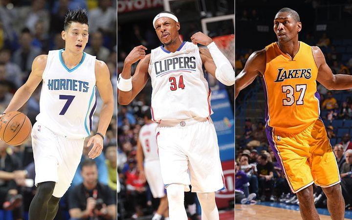 New additions Jeremy Lin (in Charlotte, far left), Paul Pierce with the Clippers and Metta World Peace returning to the Laker