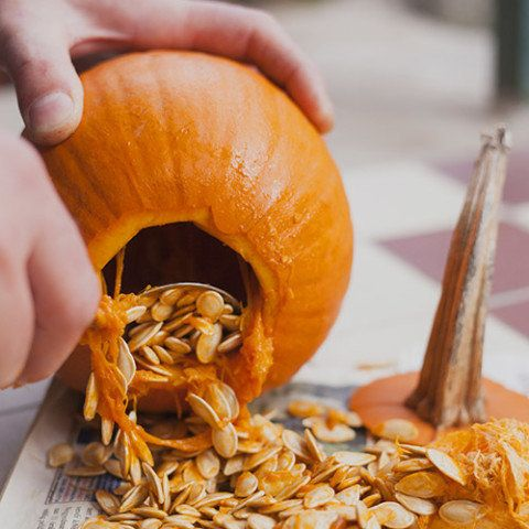 Use a kitchen spoon to scoop out pulp and seeds. Scraping the shell will help the pumpkin last longer and let more light shin