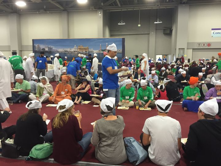 Thousands partook of a free langar meal on Saturday, Oct. 17, 2015, during the Parliament of the World's Religions.