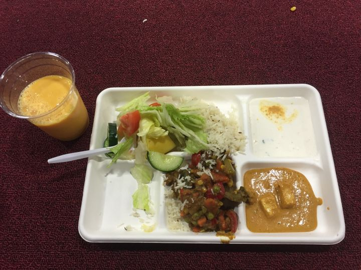 The langar meal included two types of curries, rice, raita (a side dish made from yogurt), salad, naan (an Indian flatbread)