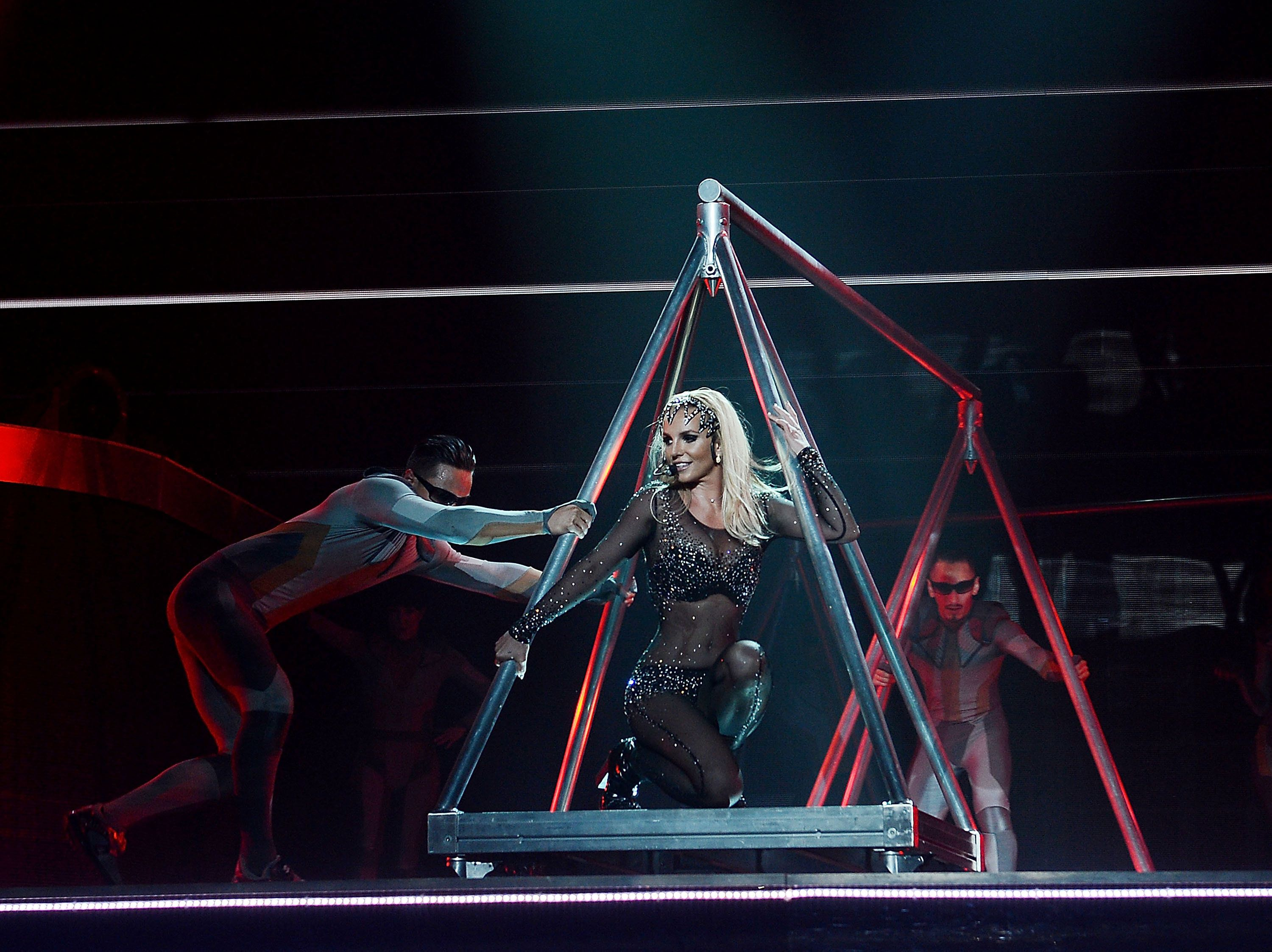 LAS VEGAS, NV - MARCH 04:  (EXCLUSIVE COVERAGE) Britney Spears performs at her 'Britney: Piece Of Me' show at Planet Hollywood Casino Resort on March 4, 2015 in Las Vegas, Nevada.  (Photo by Denise Truscello/BSLV/Getty Images for Brandcasting, Inc)