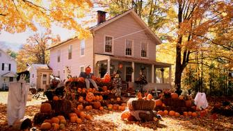 Halloween decorations in front of home, Windham, New York, USA