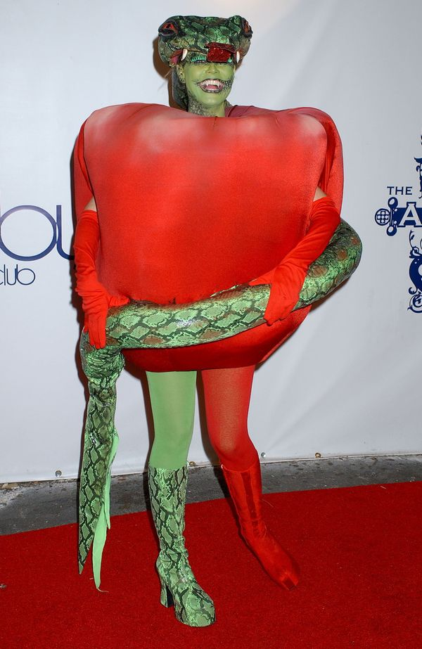The model wore an apple costume and dressed as a Garden of Eden-style snake for her seventh annual Halloween b