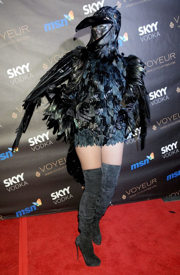 Heidi's elaborate crow costume stole the show at her Halloween bash in 2009.