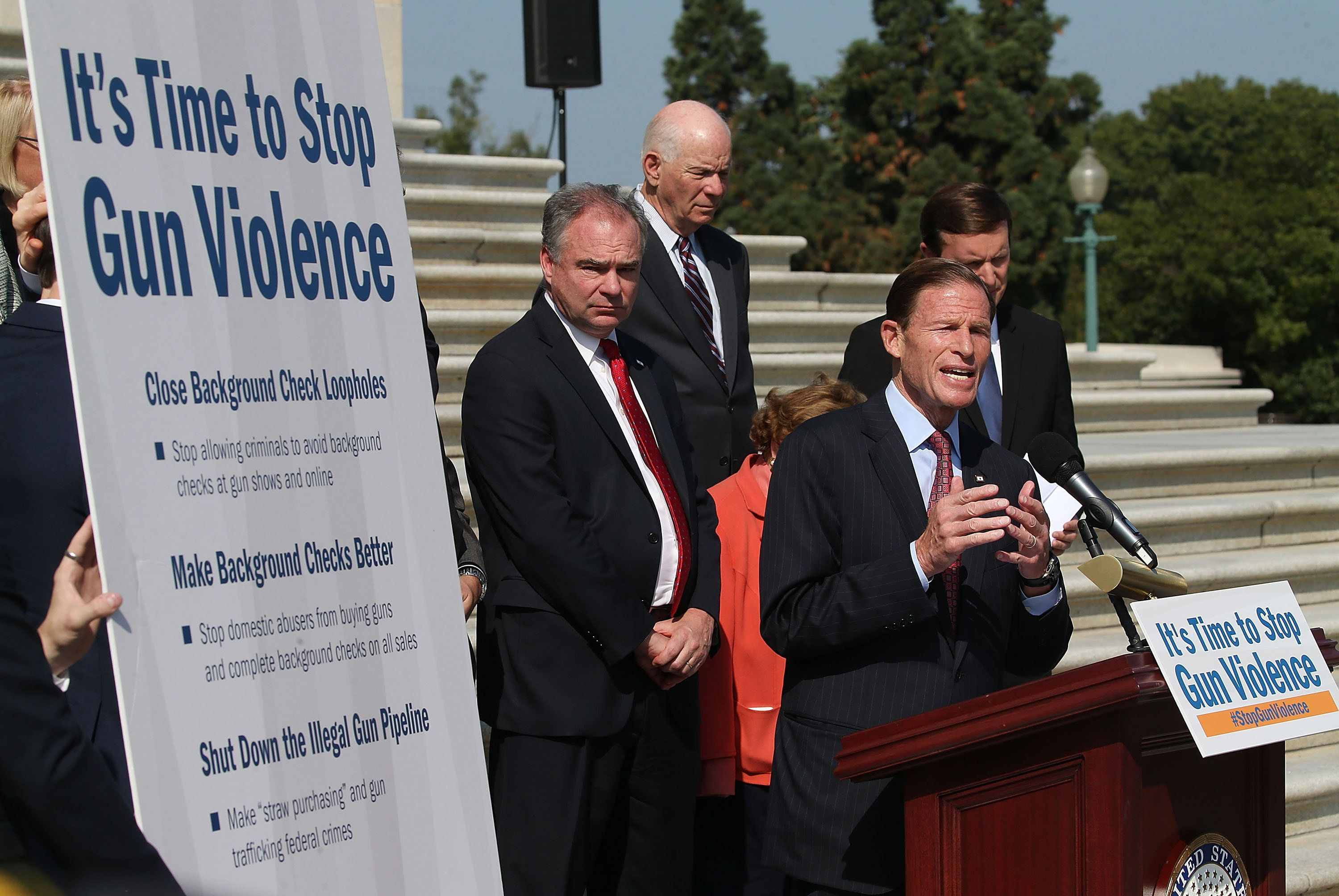 WASHINGTON, DC - OCTOBER 08:  Sen. Richard Blumenthal (D-CT) (R) is flanked by Senate colleagues while speaking about gun control during a news conference on the Senate steps at the US Capitol, October 8, 2015 in Washington, DC. Senate Democrats unveiled their principles for new gun safety legislation and announced a major public outreach effort to galvanize the country to encourage Congress to pass new legislation.  (Photo by Mark Wilson/Getty Images)