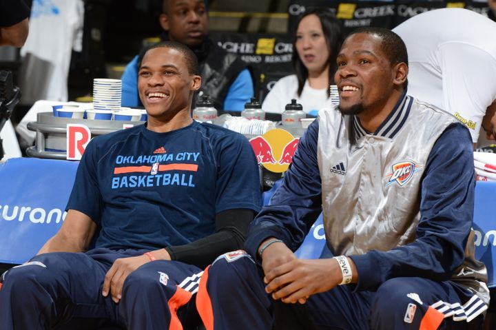 Kevin Durant, right, has the luxury of another top-10 player in Russell Westbrook.