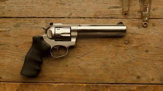 USA, Montana, 357 Caliber handgun on table