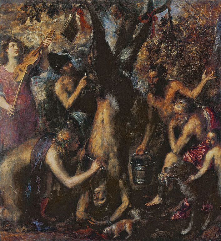 "<a href=""https://commons.wikimedia.org/wiki/File:TItian_-_The_Flaying_of_Marsyas.jpg"">Titian, ""The Flaying of Marsyas,"" 1570-"