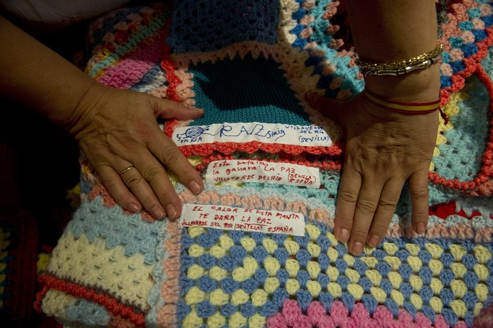 """""""The warmthfrom this blanket will give you peace,"""" reads the label on one of theblankets."""