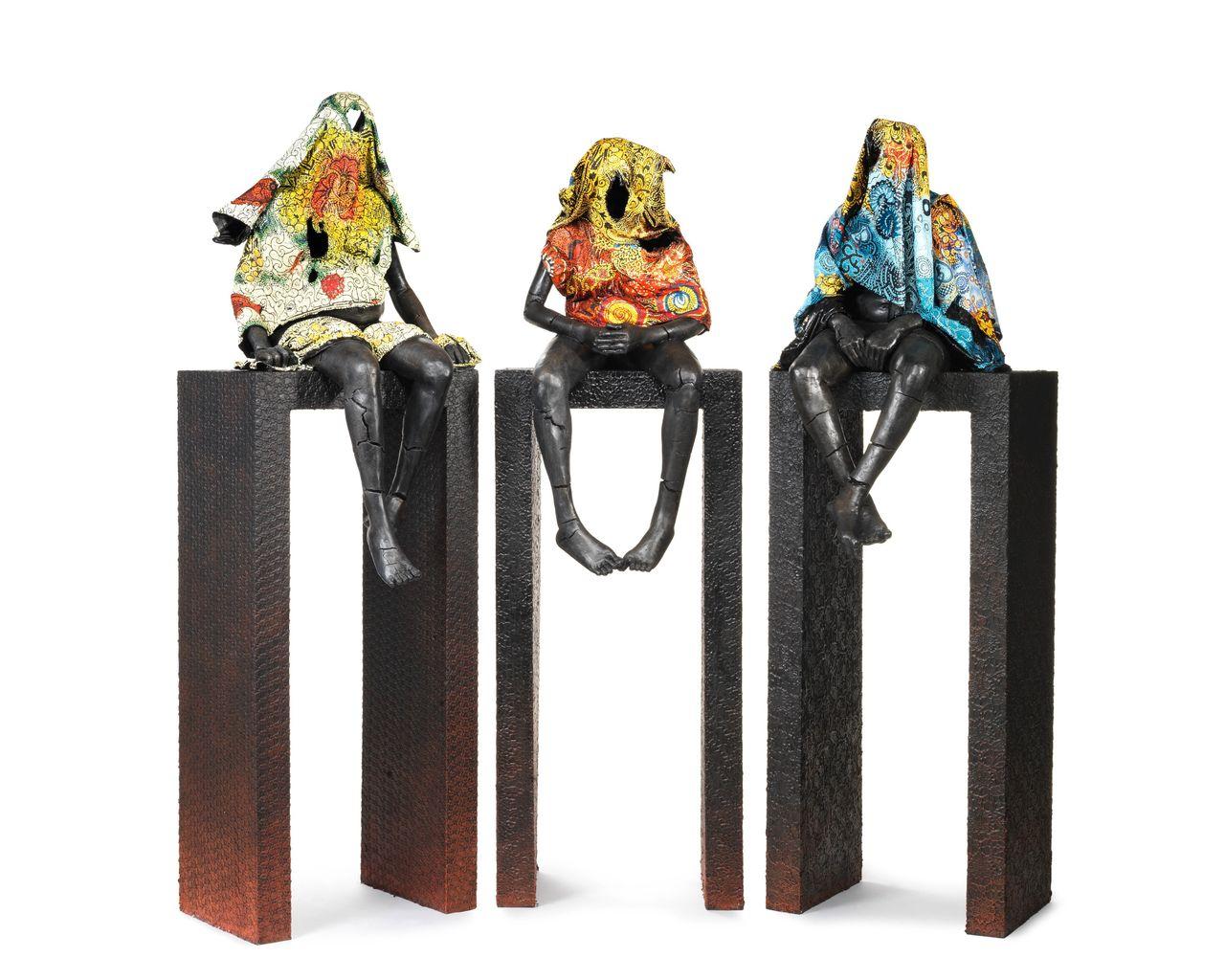 """High Horses"" triptych, Peju Alatise"