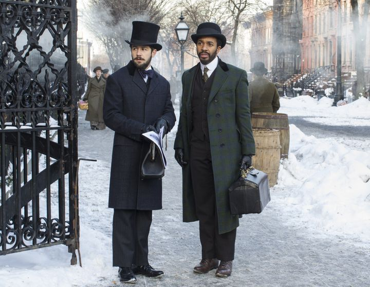 """Michael Angarano stars with André Holland in a scene from Season 2 of """"The Knick."""""""