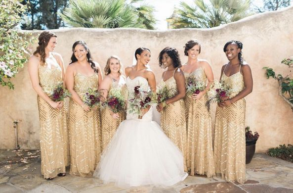 """Obsessed with these metallic @adriannapapell bridesmaids dresses!"" - Valerie"