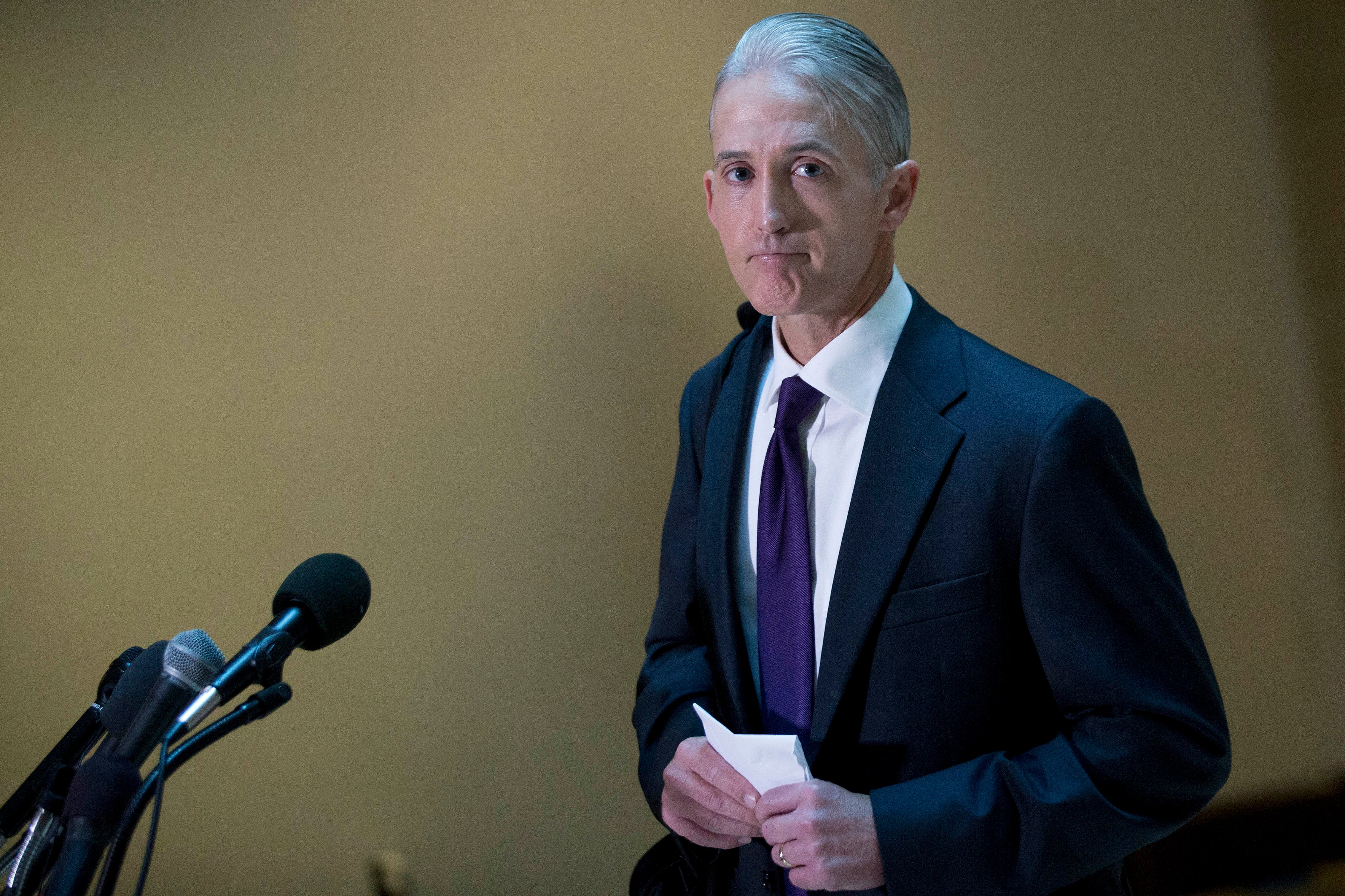 Representative Trey Gowdy, a Republican from South Carolina and chairman of the House Benghazi Committee, pauses while speaking to the media as he arrives to a closed interview with Cheryl Mills, former State Department chief of staff under former Secretary of State Hillary Clinton, not pictured, on Capitol Hill in Washington, D.C., U.S., on Thursday, Sept. 3, 2015. Clinton's use of a private e-mail address and home server in the job has become a focus of the House committee's probe of the Obama administration's handling of a 2012 assault on a U.S. diplomatic compound in Benghazi, Libya. Photographer: Andrew Harrer/Bloomberg via Getty Images