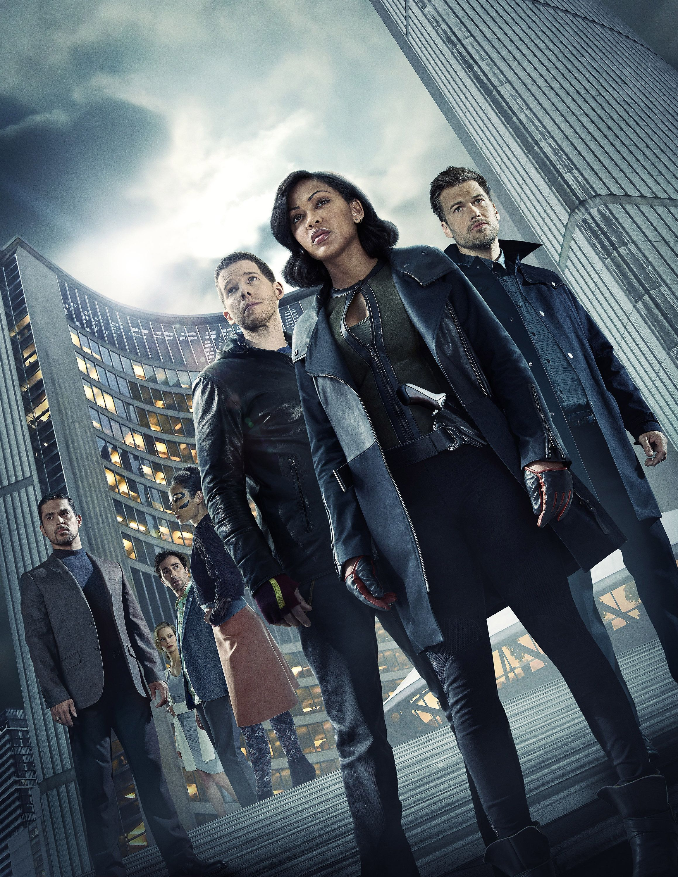 MINORITY REPORT: L-R: Wilmer Valderrama as Will Blake, Laura Regan as Agatha, Daniel London as Wally, Li Jun Li as Akeela, Stark Sands as Dash, Megan Good as Det. Lara Vega and Nick Zano as Arthur. (Photo by FOX via Getty Images)