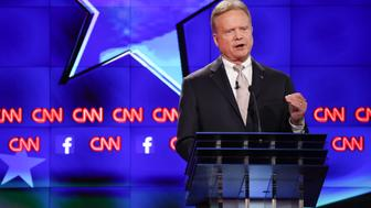 Jim Webb, former Senator from Virginia, participates in the first Democratic presidential debate at the Wynn Las Vegas resort and casino in Las Vegas, Nevada, U.S., on Tuesday, Oct. 13, 2015. While tonight's first Democratic presidential debate will probably lack the name-calling and sharp jabs of the Republican face-offs, there's still potential for strong disagreements between the party's leading contenders. Photographer: Josh Haner/Pool via Bloomberg